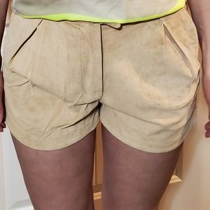 H&M leather tan shorts